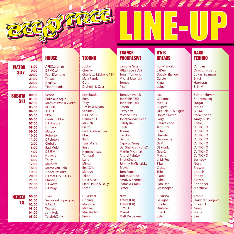 lineup BeeFree 2010